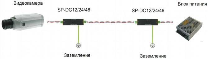 ISB - Устройство грозозащиты цепей питания 12В SP-DC12 схема подключения